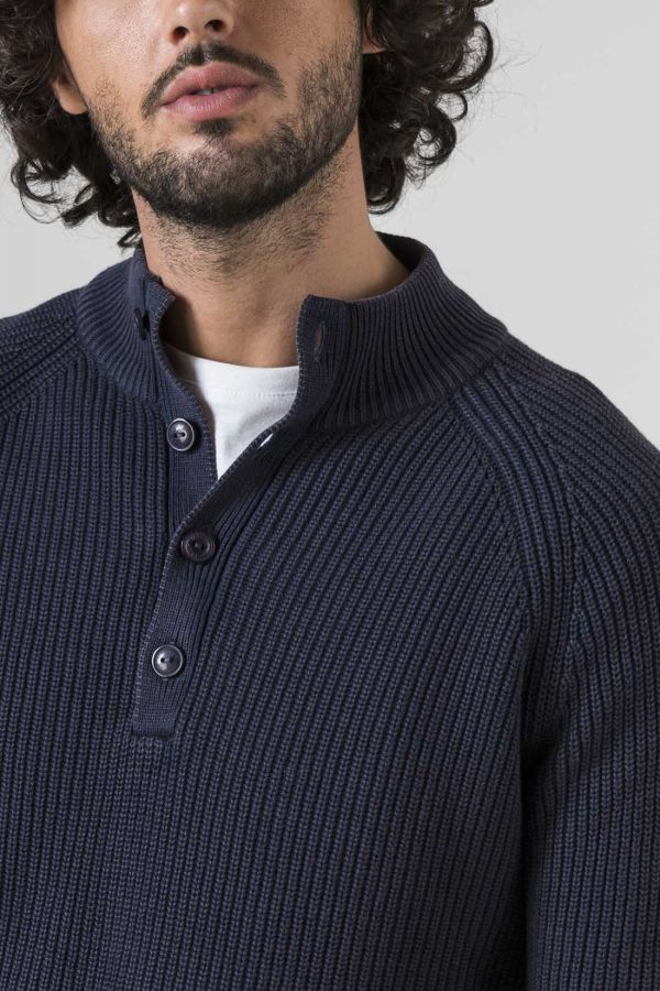 PULLOVER COLLO ALTO BOTTONI